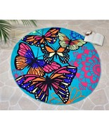 """59"""" Round Butterfly Design Beach Towel Teal Background Polyester - $44.54"""