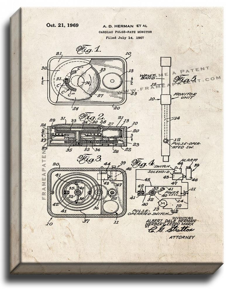 Primary image for Cardiac Pulse-rate Monitor Patent Print Old Look on Canvas