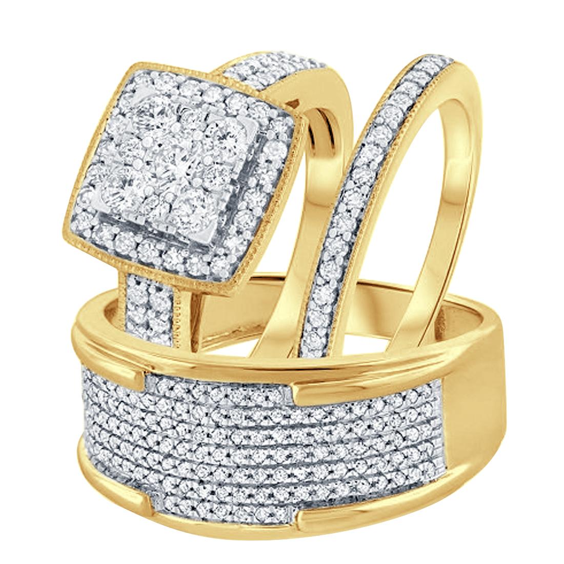 Men's & Women's 14k Yellow Gold Fn 3/8 Ct Round Diamond Trio Wedding Ring Set - $170.09