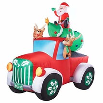 Holiday Time Santa Truck Retro Truck with Reindeer, Airblown Inflatable ... - $119.76