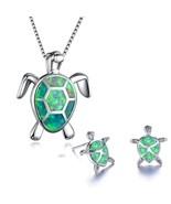 Mele 925 Sterling Silver Green Opal Geometric Design Turtle Earring & Pe... - $14.99
