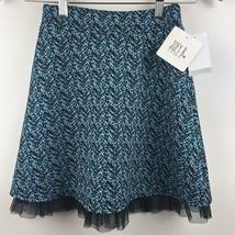 Joey B Skirt S Printed Mesh Ruffle Hem Stretch Blue Black Girls Small $3... - £9.62 GBP