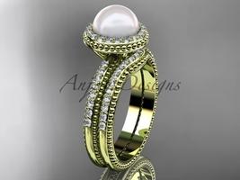 Ladies wedding ring sets pearl 14k yellow gold diamond halo engagement ring AP95 - $2,095.00