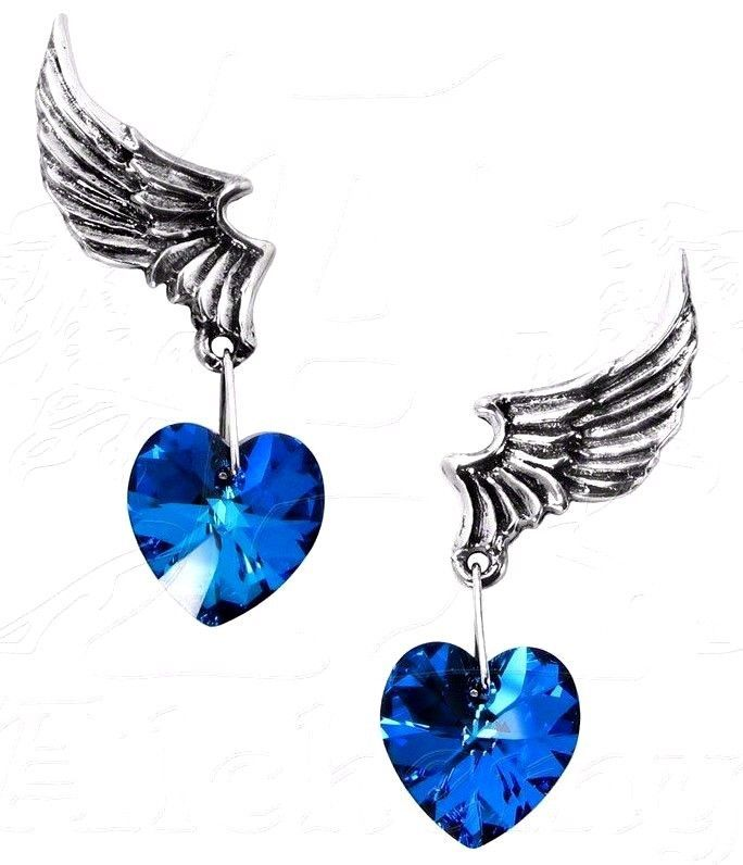El Corazon Earrings Winged Blue Crystal Hearts Pair ULFE15 Alchemy Gothic