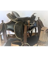 "Fancy black leather tooled  saddle seat 13"" for youth or pony - $389.00"