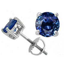 All Size's 14K White Gold Blue Sapphire Round Cut Stud Earrings Screw Back - $50.17+