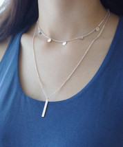 Rose Gold Disc Choker and Bar Layered Necklace, Layered and Long Double Necklace - $15.84