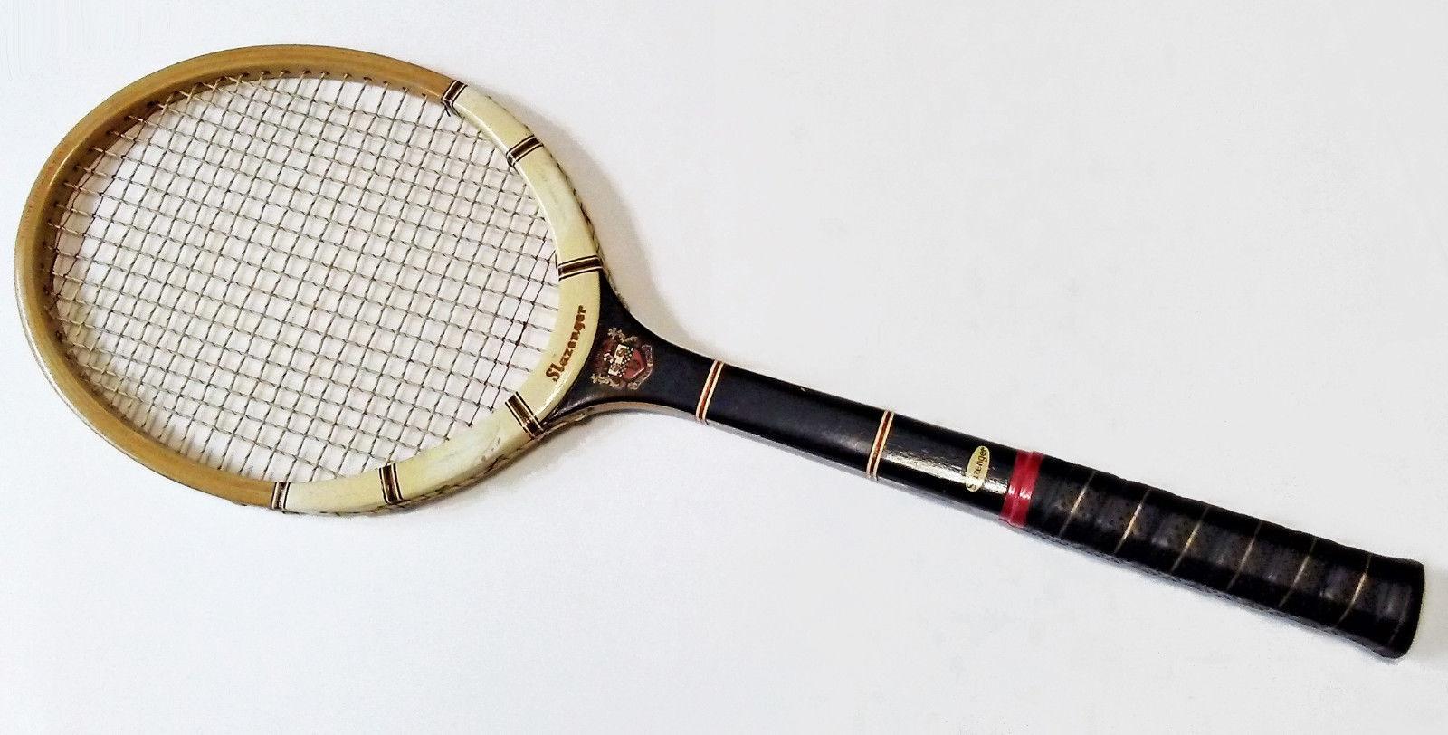 Vintage Slazenger London Wooden Racket Made in England Permalock Bonding Medium