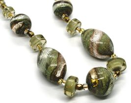 NECKLACE ANTIQUE MURRINA VENICE CO998A32, BRIGHT, LONG 44 CM, GREEN PINK AMBER image 3