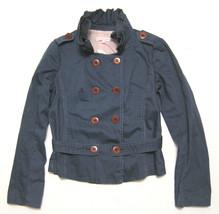 Charlotte Ronson jacket souble breasted stripe coat w/ ruffle collar sz 4 - $24.25