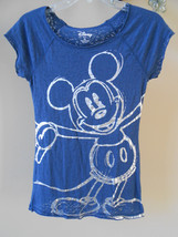 Disney Mickey Mouse Silver Foil Distressed Lace See Through Style T-Shir... - $14.70