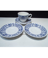 3 Saucers / 1 Cup ~~  J & G  Meakin  ~~ Classic Forum Blue ~~ htf ~ - $19.95