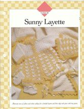 Sunny Layette Set Crochet Patterns Jacket Afghan Cap Booties  - $8.00