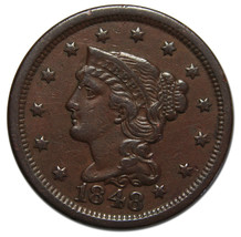 1848 Large Cent Liberty Braided Hair Head Coin Lot # MZ 3815