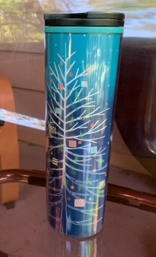 Primary image for Starbucks 2018 Christmas Tree Blue Ombre Double Wall 16oz Tumbler