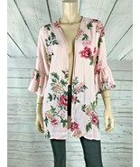 GYPSIES & Moondust Pink Floral Flare Sleeve Kimono Open Front Top NWT Small - $9.41