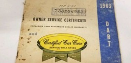 1963 Dodge Dart Owners Manual And Owners Service Certificate Book image 2