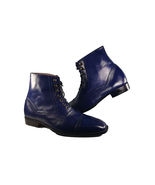 Handmade Navy Bluefish Leather Boot,Men's Lace Up Dress Cap Toe Ankle Hi... - $179.97+