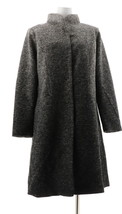 H Halston Ombre Snap Front Faux Wool Coat Black Ombre 10 NEW A343467 - $99.97