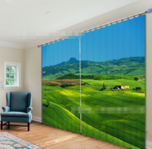 3D Green Hilly Blockout Photo Curtain Printing Curtains Drapes Fabric Wi... - $147.54+