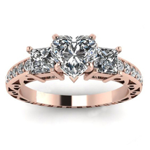 14k Rose Gold Plated 925 Silver Heart Shape White CZ Engagement Annivers... - $79.45