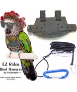 EZ RIDER Bird Harness with 8 Foot Leash - Color: BLACK - Made in the USA - $26.50+