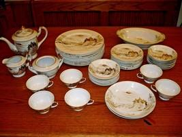 Kutani Japan Dish Set 44 Pieces White & Gold Hand Painted Plates Bowl Co... - $204.92
