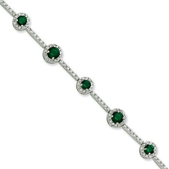 Primary image for Lex & Lu Sterling Silver Green and Clear CZ Bracelet 7.25""
