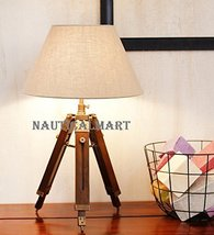 Nickle Finish Tripod Table Lamp W/ Cotton Shade By NauticalMart - $146.02
