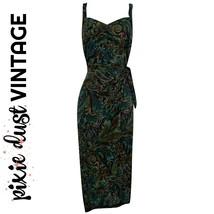Vintage Dress Wrap 80s Teal Blue Green Wiggle Brocade Midi Mididress Siz... - $44.96