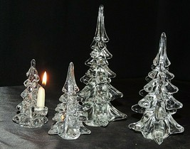 Glass Christmas Trees (*4) AA20-7286 Vintage