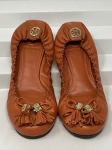 Tory Burch Reese Orange Leather Tassel Logo Ballet Flats Women's Size: 7.5M Rare - $79.19