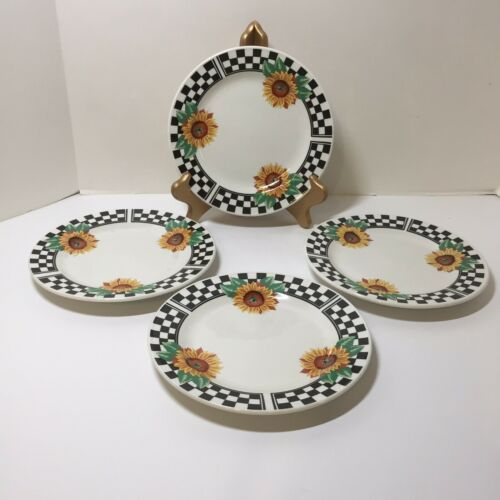 Primary image for 4 Salad Plates Sunny Tabletops Unlimited Sunflowers 7.5""