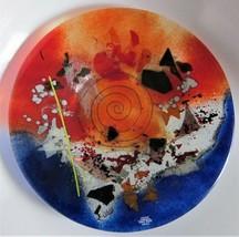 "GLASS INTARSIA ART PLATTER Handmade GREECE Ltd. Collection UNIQUE 14.5"" ... - $55.14"