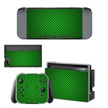 NINTENDO SWITCH - Carbon Fiber, Green - Vinyl Skin + 2 Controller Skins ... - $12.85