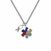 CHOROY Autism Puzzle Piece Necklace with Hope Ribbon Charm Asperger Awar... - $13.11