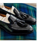 Mens Black Leather Fine Boat Cut Tassels Moccasin Formal Shoes - $156.73