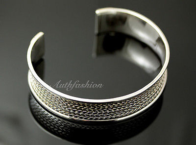 Mens Sterling Silver Bracelet Woven Wheat Bangle Cuff Handcrafted Hip Hop b24 image 2