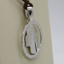SOLID 18K WHITE GOLD PENDANT MEDAL, STYLIZED GUARDIAN ANGEL, MADE IN ITALY image 3