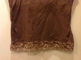 New York & Co Intimates Brown Cami w Floral Lace Trim Sz L image 3