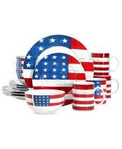 Patriotic Stars And Stripes 16 Piece Porcelain  Dinnerware Set Service f... - $389.95