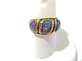 DARK CONFETTI FAUX SIMULATED OPAL AND RHINESTONE ACCENT BAND RING SIZE 7.25 - $12.00