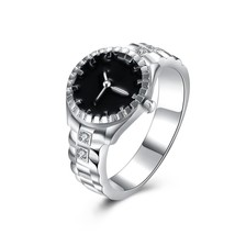 Christmas gift for women girl Watch style ring Lovely Wedding party silv... - $18.95
