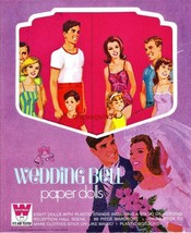 VINTAGE UNCUT 1971 WEDDING BELL PAPER DOLLS~#1 REPRODUCTION~LARGE WARDRO... - $20.75
