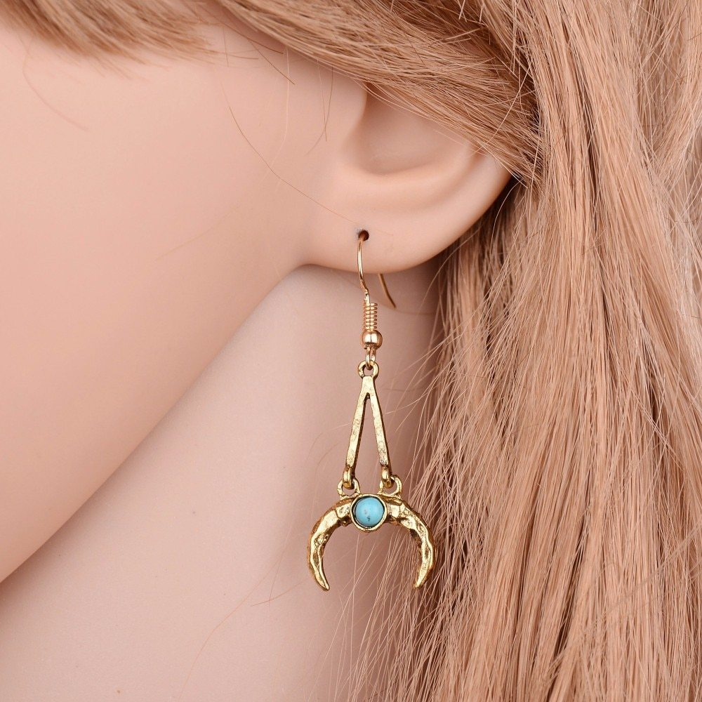BAHYHAQ - Bohemia Ethnic Earring Vintage Jewelry Pending Moon Drop Earrings