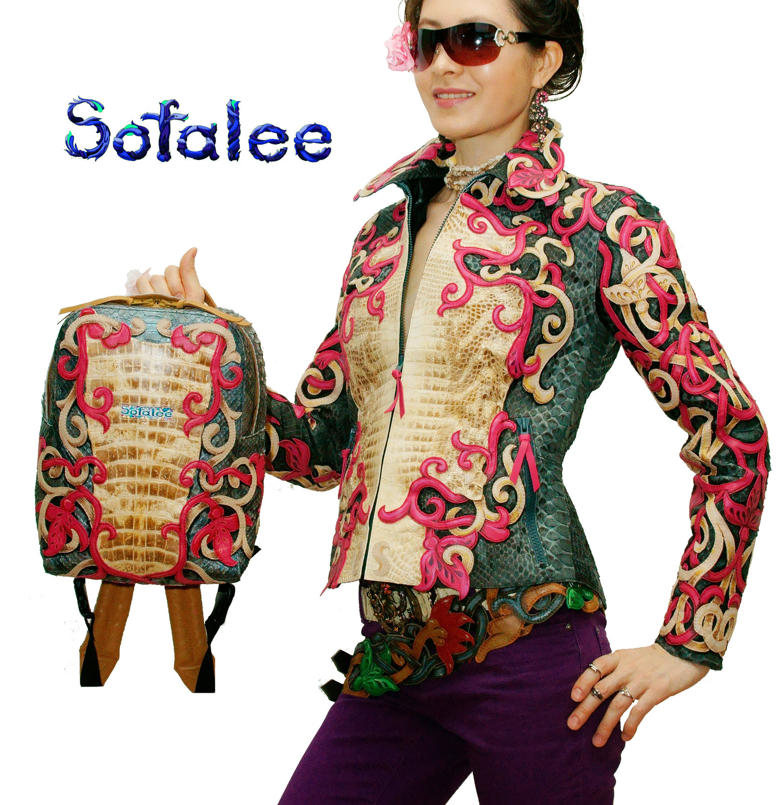 Exclusive womens Jacket+ Backpack genuine crocodiile python snakeskin, embellish
