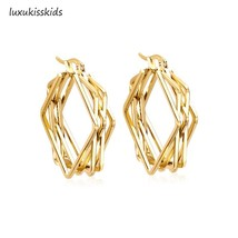 5 Styles  316L Stainless Steel Gold Hoop Earrings Circle Square Hoop Ear... - $10.20