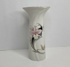 "Vintage Tall Fine China Japan Flower Butterfly Vase Gold Gilding 10 1/4""... - $12.86"