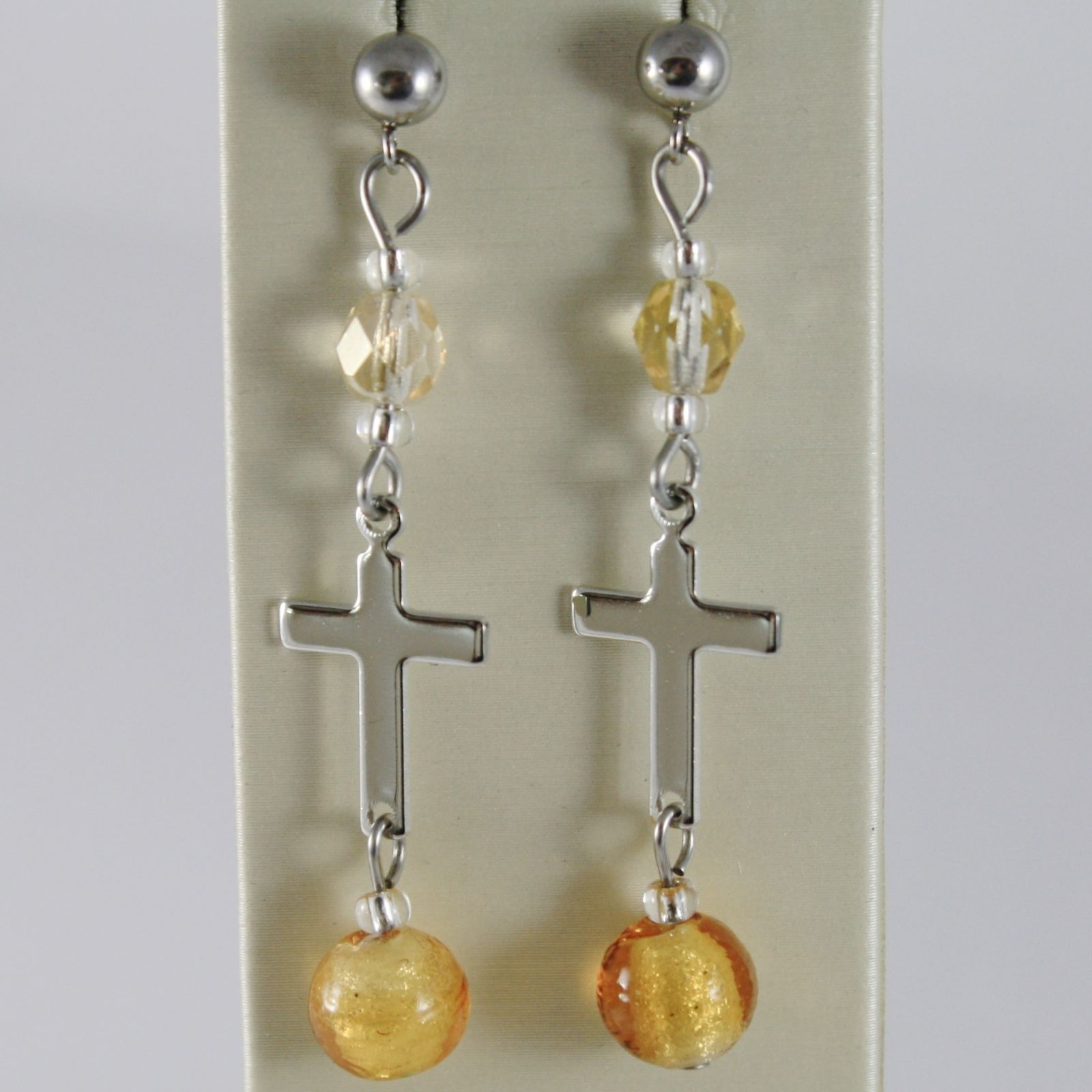 EARRINGS ANTICA MURRINA VENEZIA WITH MURANO GLASS YELLOW AND CROSS