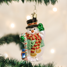 OLD WORLD CHRISTMAS CANDY CANE SNOWMAN GLASS CHRISTMAS ORNAMENT 24068 - $15.88